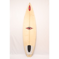 "SOLD ... AB 6 CHANNEL 6'1"" SURFBOARD shaped by ALLAN BYRNE THRUSTER"