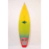 SOLD SHEELY TRI FIN WITH BOX 6'0 MURAL SURFBOARD 80s FLUORO