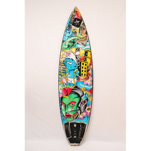 SOLD SUPER BRAND PRO SURFBOARD MURAL BY LOUIS GERVAIS FOR ASH