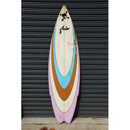 "RUSTY 5'10"" 5 FIN NATHAN HEDGE PRO BOARD retro surfboard"
