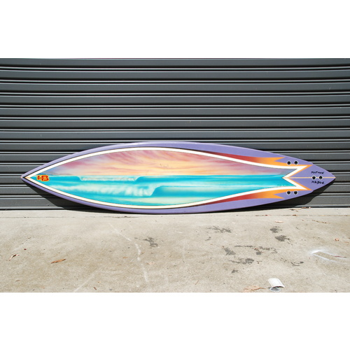 "HOT BUTTERED TF MW 7'6"" thruster NATHAN HEDGE PRO BOARD retro surfboard"
