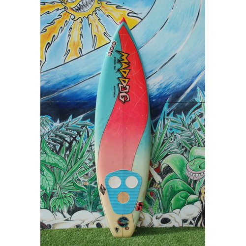 "SOLD ... MAD DOG thruster 2+1 retro surfboard 6'3""SOLD"
